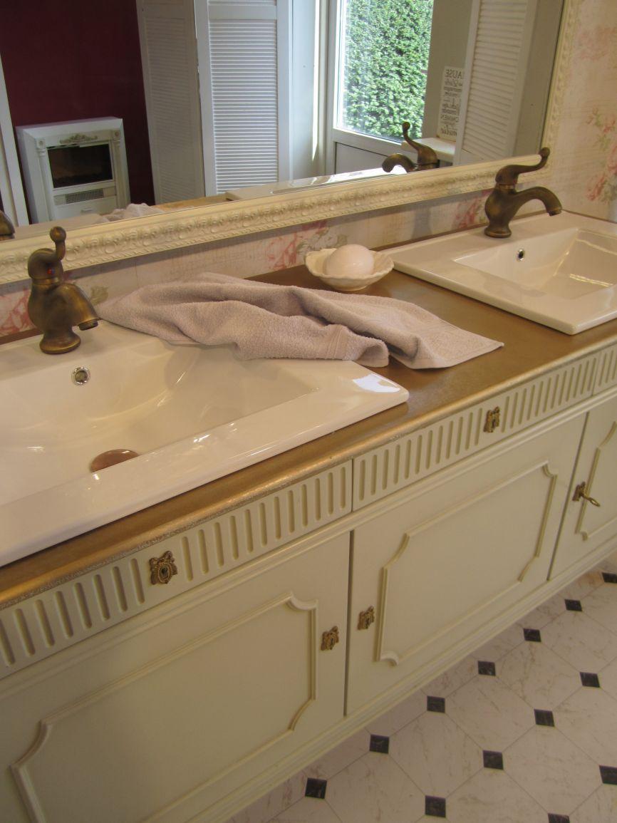 Doppelwaschtisch antik  Landhaus Doppelwaschtisch in romantischem Look