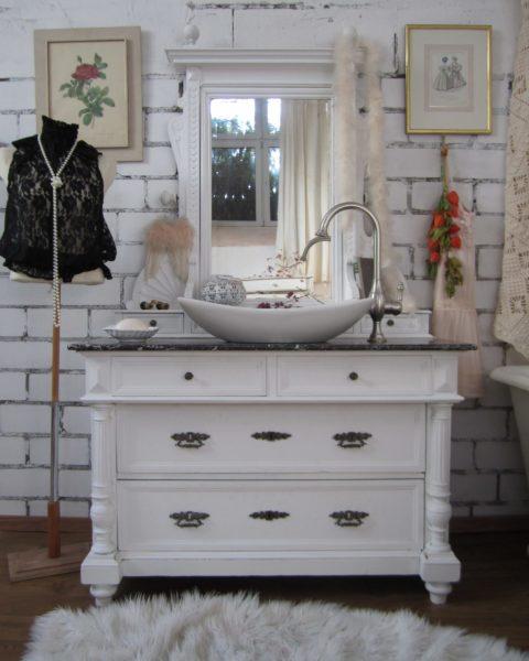 Le Miau - Landhaus Waschtisch mit Marmorplatte