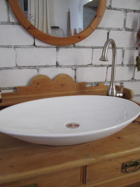 Waschtisch Landhaus Amber sun, Badmöbel antik, Naturholz Waschtisch