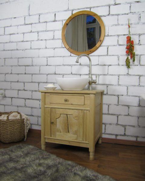 Waschtisch Naturholz, Waschkommode antik, Badmöbel Landhaus